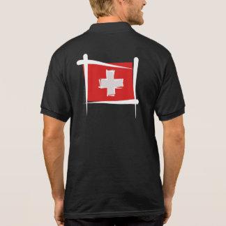 Switzerland Brush Flag Polo T-shirts