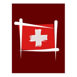 Switzerland Brush Flag Postcard