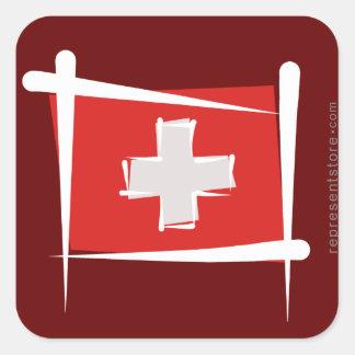 Switzerland Brush Flag Square Sticker