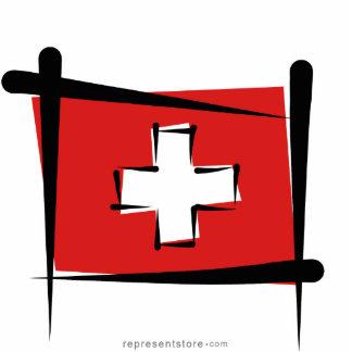 Switzerland Brush Flag Statuette