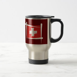 Switzerland Brush Flag Travel Mug