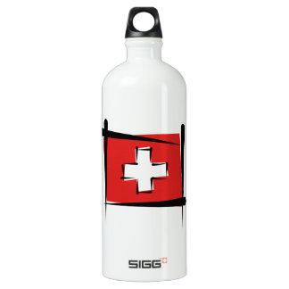 Switzerland Brush Flag Water Bottle