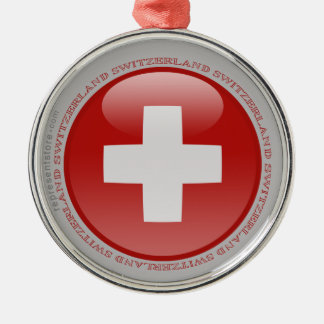 Switzerland Bubble Flag Round Metal Christmas Ornament