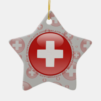 Switzerland Bubble Flag Double-Sided Star Ceramic Christmas Ornament