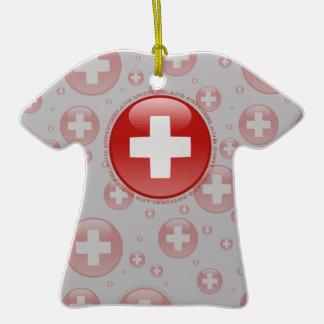 Switzerland Bubble Flag Double-Sided T-Shirt Ceramic Christmas Ornament