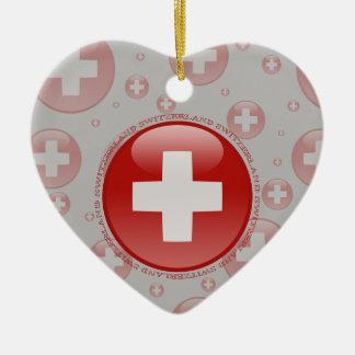 Switzerland Bubble Flag Double-Sided Heart Ceramic Christmas Ornament
