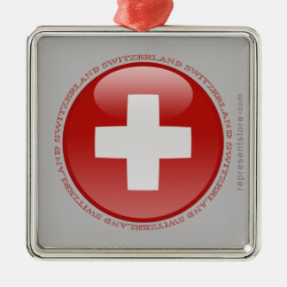 Switzerland Bubble Flag Square Metal Christmas Ornament