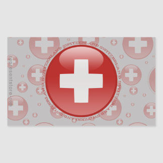 Switzerland Bubble Flag Rectangular Sticker