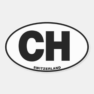 Switzerland CH Oval ID Identification Initials Oval Sticker