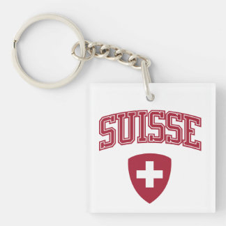 Switzerland + Coat of Arms Single-Sided Square Acrylic Keychain
