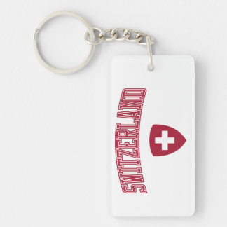 Switzerland + Coat of Arms Double-Sided Rectangular Acrylic Keychain