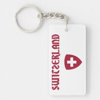 Switzerland + Coat of Arms Double-Sided Rectangular Acrylic Keychain