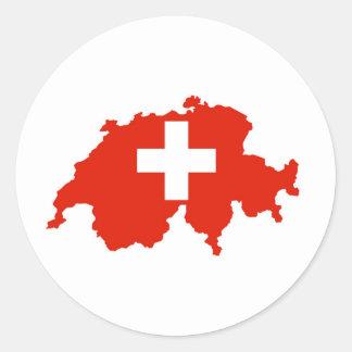 switzerland country flag map swiss symbol classic round sticker