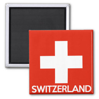 Switzerland country flag symbol name text swiss 2 inch square magnet