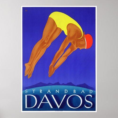 Switzerland Davos Vintage Travel Poster Restored