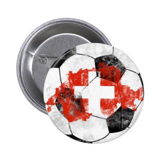 Switzerland Distressed Soccer 2 Inch Round Button