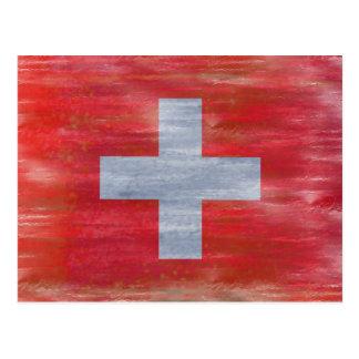 Switzerland distressed Swiss flag Post Card