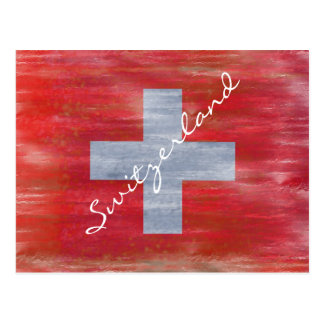 Switzerland distressed Swiss flag Postcard