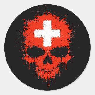 Switzerland Dripping Splatter Skull Classic Round Sticker