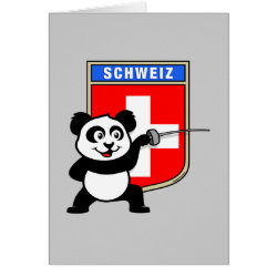 Greeting Card with Swiss Fencing Panda design