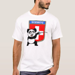 Men's Basic T-Shirt with Swiss Fencing Panda design