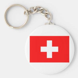 Switzerland Flag Basic Round Button Keychain