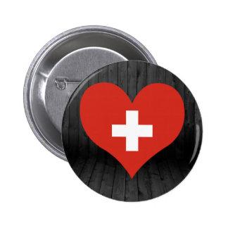 Switzerland flag colored 2 inch round button