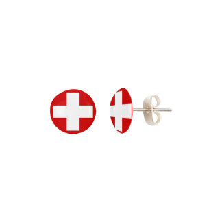 Switzerland Flag Earrings