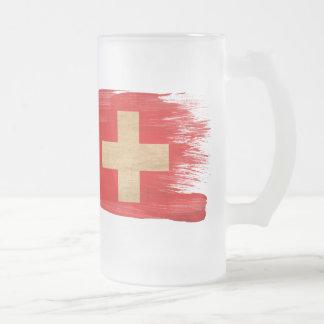 Switzerland Flag Frosted Glass Beer Mug