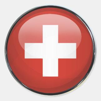 Switzerland Flag Glass Ball Classic Round Sticker