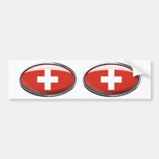Switzerland Flag Glass Oval Bumper Sticker