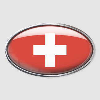 Switzerland Flag Glass Oval Oval Sticker