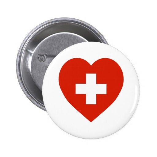 Switzerland Flag Heart Button