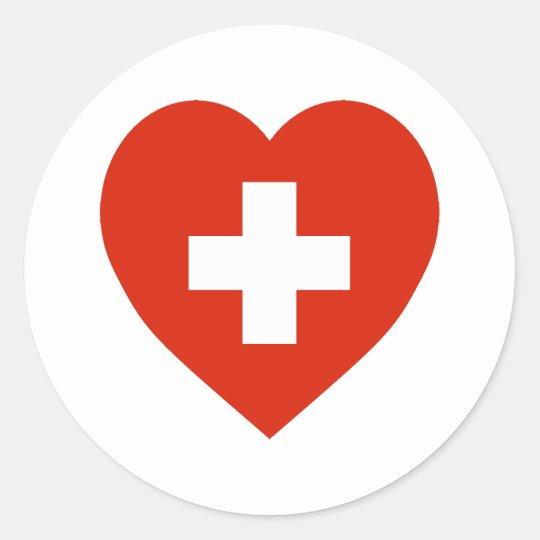 Switzerland Flag Heart Classic Round Sticker