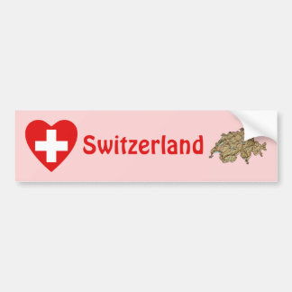 Switzerland Flag Heart + Map Bumper Sticker