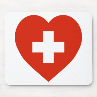 Switzerland Flag Heart Mouse Mat