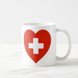 Switzerland Flag Heart Coffee Mugs