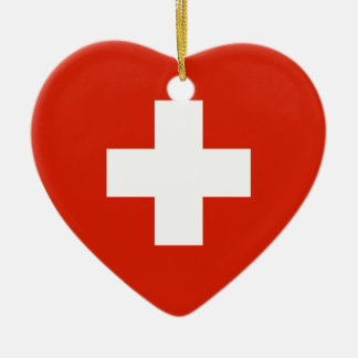 Switzerland Flag Heart Ornaments