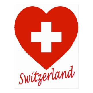 Switzerland Flag Heart Postcard