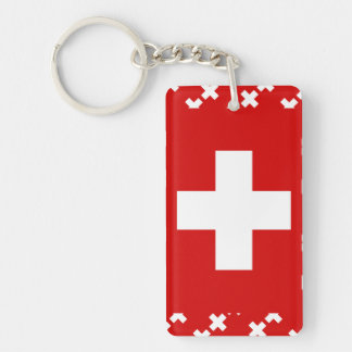 Switzerland Flag Single-Sided Rectangular Acrylic Keychain
