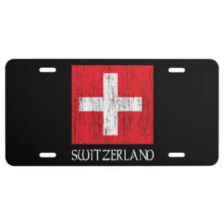 Switzerland Flag License Plate