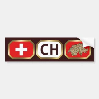 Switzerland Flag Map Code Bumper Sticker