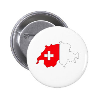 Switzerland Flag Map full size Pinback Buttons