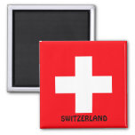 SWITZERLAND: Flag of Switzerland 2 Inch Square Magnet