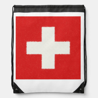 Switzerland Flag Oil Painting Drawstring Bag