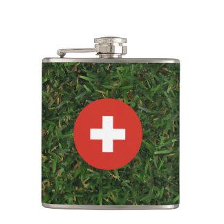 Switzerland Flag on Grass Hip Flask