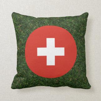 Switzerland Flag on Grass Throw Pillow