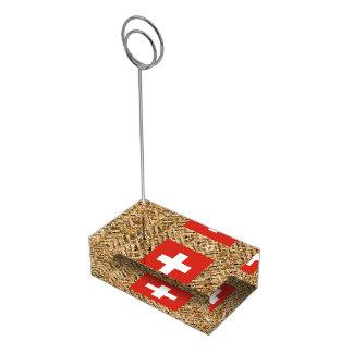 Switzerland Flag on Textile themed Table Number Holder