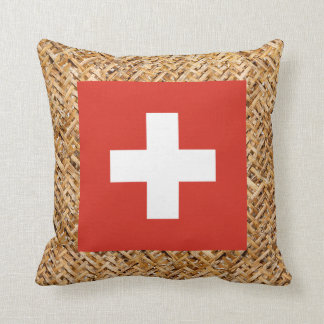 Switzerland Flag on Textile themed Throw Pillow