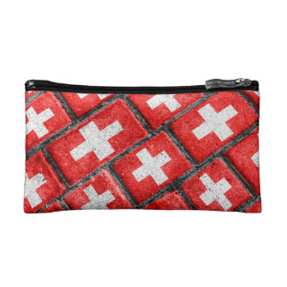 Switzerland Flag Urban Grunge Pattern Cosmetic Bag